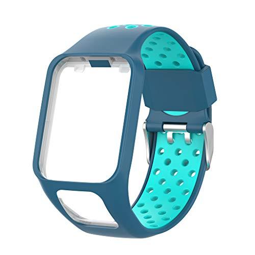 siwetg Correa De Reloj De Pulsera De Repuesto De Silicona De Dos Tonos para Tomtom Runner 2 3 Spark 3 GPS Watch Fitness Tracker