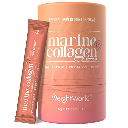 Pure Marine Collagen Powder 2600mg (28 Peach Flavour Sachets) - Skin, Hair, Nails & Joints Food Supplement, Natural Carb Free Keto Diet Drink for Beauty & Health, Collagen Halal Protein Source