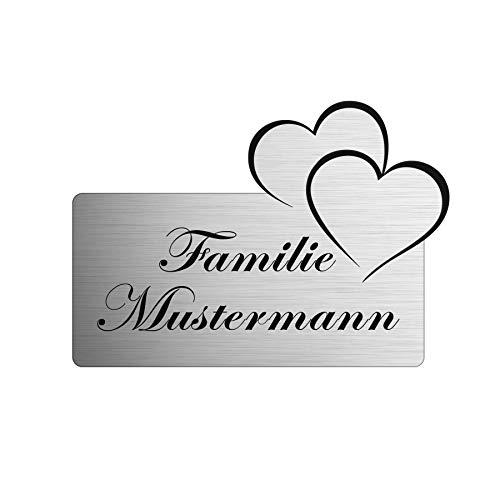 Namensschild personalisiert mit Gravur - Briefkastenschild in 4 Motiven erhältlich - Klingelschild in Edelstahl Optik - Geschenkidee für Frauen & Männer - Türschild ist selbstklebend - Herz