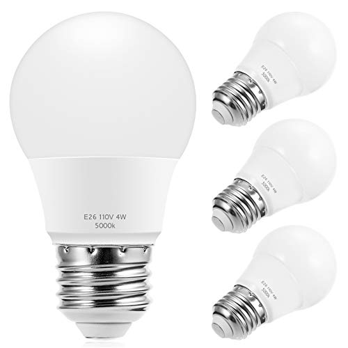 Briignite A15 LED Bulbs, Globe Light Bulbs 25 Watts Equivalent(4W LED), Daylight 5000K LED Bulb, E26 Medium Screw Base 320LM A15 Shape Decorative Edison Home Lighting Non-Dimmable (Pack of 4)