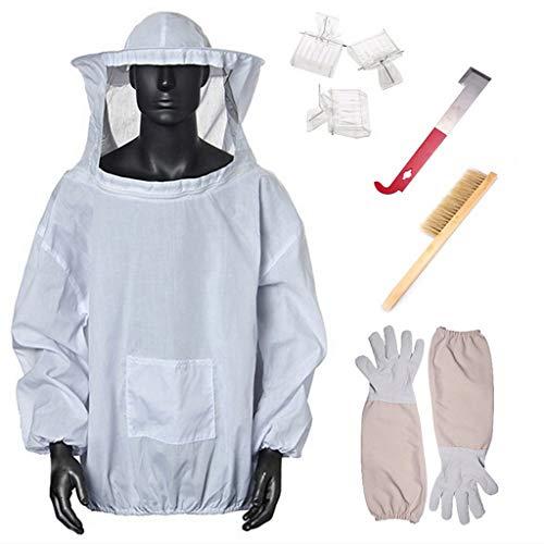 WT-YOGUET Chaqueta protectora para apicultura, suministros de alimentación de insectos para mantener el equipo de apicultor y velo con guantes, herramientas de colmena y cepillo de colmena