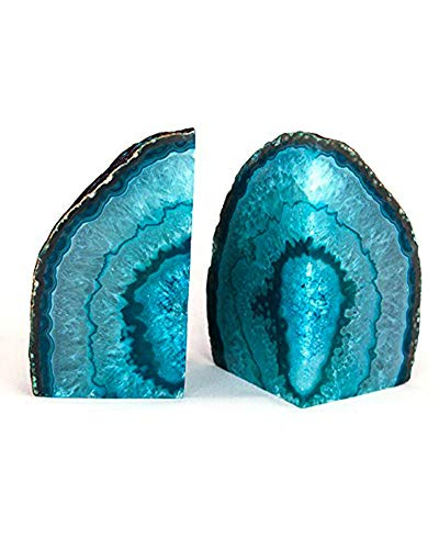 AMOYSTONE 1Pair Agate Bookends Teal Dyed 2-3 lbs Small Cut...