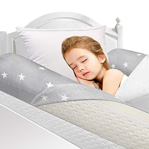 UBBCARE Memory Foam Toddlers Bed Rails Bumpers Soft Portable Toddler Bed Safety Long Pillow Pads Bedside Rail Guard for Crib Kids Baby Elderly with Machine Washable Cover
