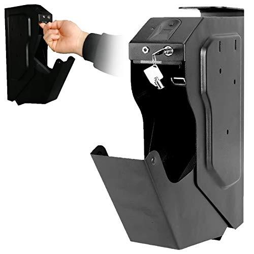 LXNQG Portátil Cajas Fuertes para Armas, Caja Fuerte para Armas, Gabinete de Escritorio, Biométrica de Huellas Dactilares y Llave de Repuesto, Caja Fuerte para Pistola