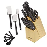 Farberware 22-Piece Never Needs Sharpening Triple Rivet High-Carbon Stainless Steel Knife Block and...
