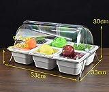 Bandeja de fruta creativa con tapa, multi-caja de merienda seca caja de fruta, salsa de bufet tazón, expositor de alimentos fríos, frutas, pasteles, salsas, platos fríos ( Color : White , Size : J )