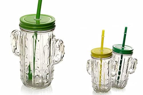 Kasahome Juego de 6 vasos con pajita de cristal transparente, tarros con forma de cactus para bebidas, cócteles, 400 ml, colores surtidos