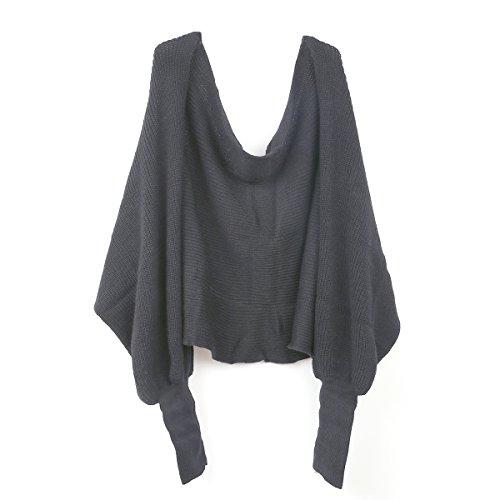 BESTOYARD Winter Warm Gestrickte Schal mit Ärmeln, Mode Poncho Schal mit Ärmel für Damen (dunkel grau)