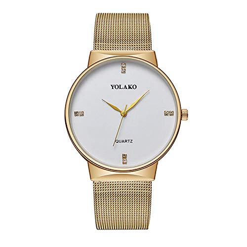 SANDA Relojes Hombre,Reloj de Correa de Malla de Acero Inoxidable Reloj de Cuarzo con dial de Diamantes Reloj Casual de Negocios de Moda para Hombres-Dorado