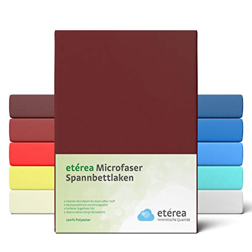 etérea Microfaser Spannbettlaken 140x200-160 x 200 cm - glattes, feines Mikrofaser Spannbetttuch auch 100% Polyester, Bettlaken mit ca. 25 cm Steghöhe, Bordeaux