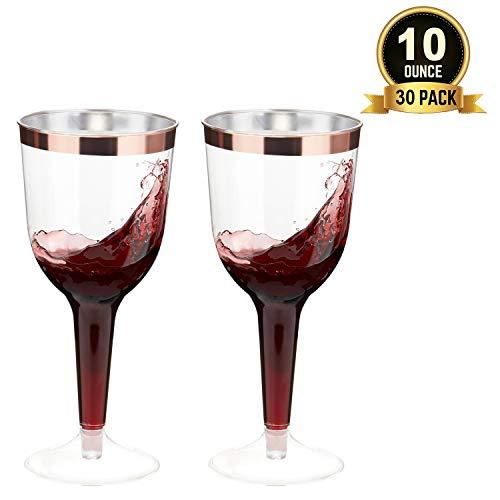 TOROTON 30 Stück Plastik Weingläser, 300ml Wiederverwendbar und Recycelbar Plastikgläser, Ideal für Feiern, Hochzeiten, Picknick - Rose Gold