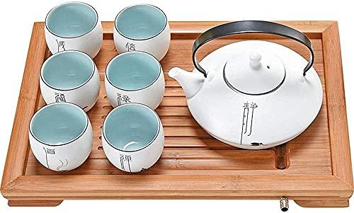 Conjunto de bule de chá japonês, conjunto de chá de Kung Fu feito à mão cerâmica conjunto de chá com filtro e 6 xícaras para casa e escritório D (tamanho C: C)