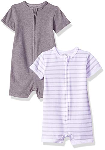 Hanes Ultimate Baby Zippin 2 Pack Rompers, Grey Stripe, 6-12 Months
