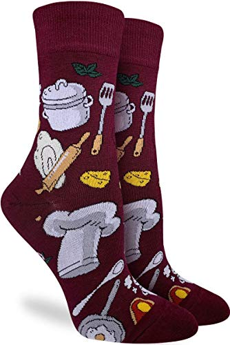 Good Luck Sock Women's Chef Socks - Red, Adult Shoe Size 5-9