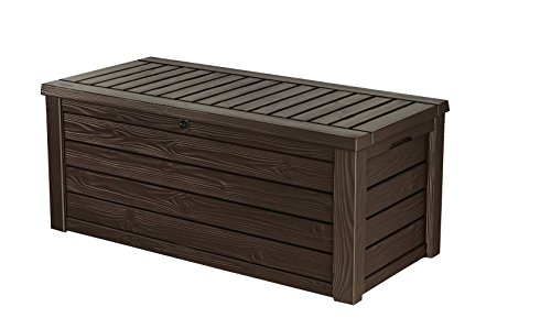 Keter Westwood 150 Gallon Resin Large Deck Box for Patio Garden...