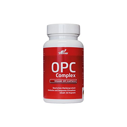OPC Traubenkernextrakt Kapseln hochdosiert | 600mg Reines OPC Hochdosiert pro Kapsel (95% OPC-Gehalt) OHNE Magnesiumstearat | 60 vegane OPC-Kapseln + 12 mg natürliches Vitamin C