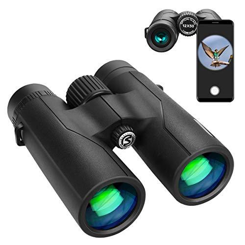 VIFLYKOO Prismáticos para adultos, 12 x 50, HD, para observación de aves, camping, senderismo,