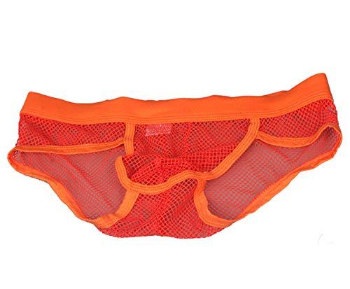 ボクサーブリーフ,丸見えパンツ シースルー メンズショーツ 男性専用 下着 超セクシー 激薄ボクサー 超薄 メッシュ メンズ メンズインナー 通気性抜群 L オレンジ