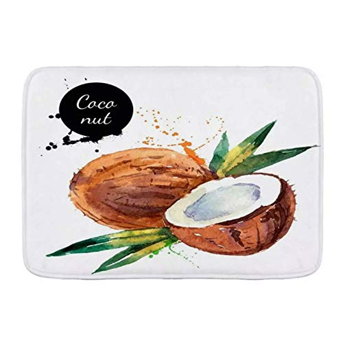 N/A Bath Mat Rug Green Diet Nature Fruit Watercolor Painting On White Coconut Tag Food Label Drink Sketch Paint Leaf Plush Bathroomdoormat Hallway Carpet Indoor Outdoor Rubber Pattern Print Entrance