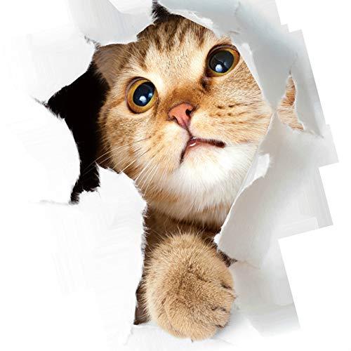 Weilifang 3D Gatito Lindo Closestool Etiqueta engomada de la Pared habitación de los niños del Gato Pegatina Deocration Gato de la Historieta del refrigerador Etiqueta