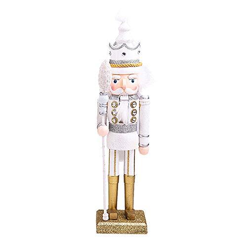 Schiaccianoci Soldato Luccichio di Legno, 42 cm di Altezza, Pupazzo Burattino Dipinto a Mano, Nutcracker Soldier Statuetta Decorazione Regalo Natale per Bambini - Bianca