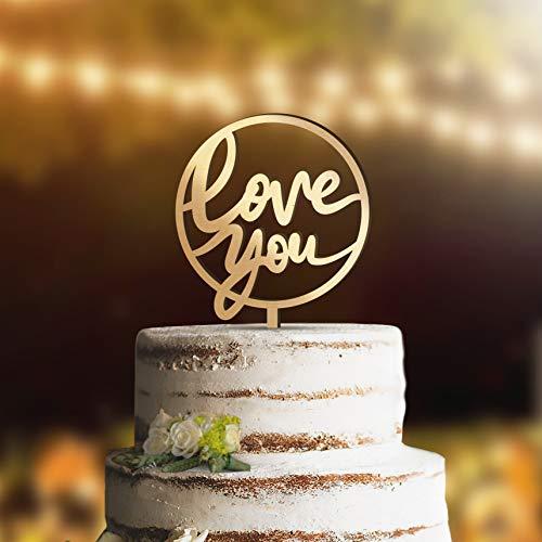 Decoración para tarta de boda con texto en inglés'Love Wedding Cake Topper' disponible en oro rosa plateado negro blanco nogal mancha azul marino y madera para pastel