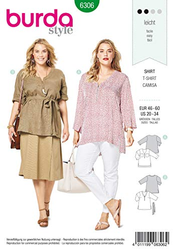 Burda Schnittmuster 6306, T-Shirt [Damen, Gr. 46-60] zum selber nähen, ideal für Anfänger [L2]