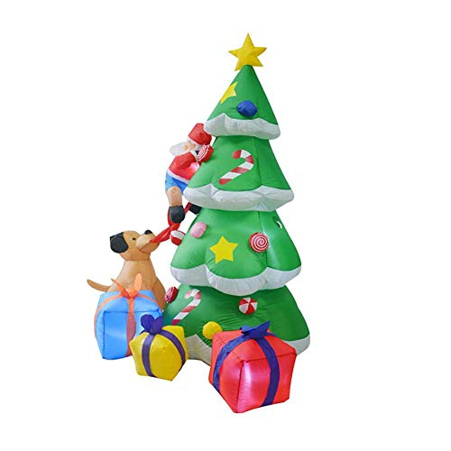 Inflatable Christmas Tree, 2.1 m Christmas Tree Puppy Biting Santa Climbing Tree Christmas Decoration Party, Indoor Outdoor Light-Up Theme Inflatable Blow-Up Party for Blow Up Yard Decoration
