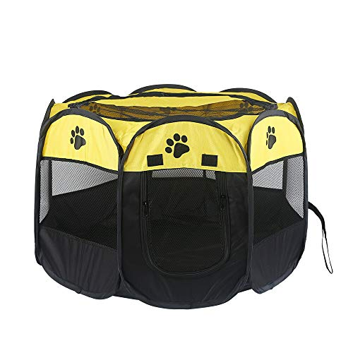 ペットサークル Sサイズ コンパクト 折り畳み 持ち運び 八角形 防水 メッシュ サークル 簡易 アウトドア 隔離 犬 猫 UP-022 イエロー