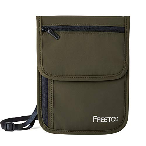 FREETOO Travel Neck Wallet Neck Pouch with RFID Blocking, Passport Holder Family Anti-Theft Hidden Passport Wallet for Men Women to Keep Your Passport Document and Credit Card Safe