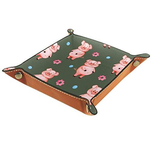 XiangHeFu Bandeja de Cuero Cerdo Rosa Almacenamiento Bandeja Organizador Bandeja de Almacenamiento Multifunción de Piel para Relojes,Llaves,Teléfono,Monedas