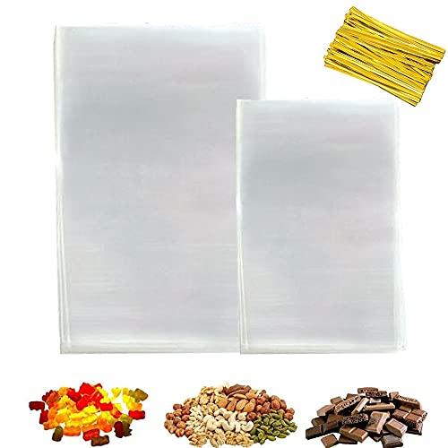 200pcs Bustine Trasparenti(10 cm x 20 cm,16 cm x 24 cm),Trattare Borse,per Caramella,Biscotto,Bread,ChocolateBakery Bags