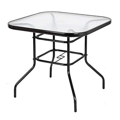 GREENWISH Square Tempered Glass Outdoor Dining Table, Square Outdoor Bistro Table with Umbrella Hole, Patio Tempered Glass Table for Home Back Yard