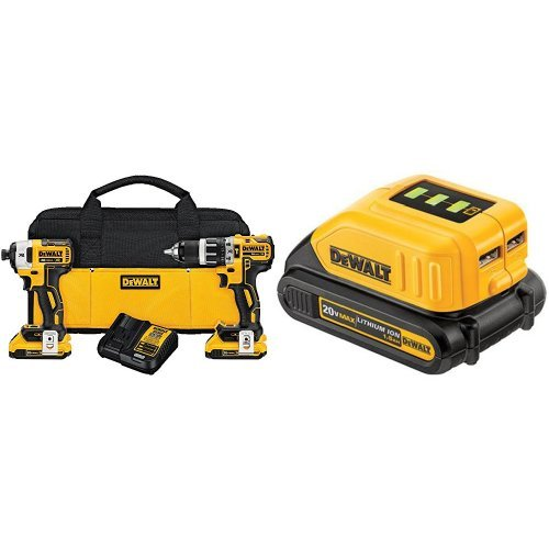 DEWALT DCK287D2 20V MAX XR Li-Ion 2.0Ah Brushless Compact Hammer drill and Impact Driver Combo Kit with USB Power Source
