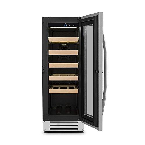 Klarstein Vinovilla Smart - Cave à vin, Volume de 50 litres, 20 bouteilles, Porte avec cadena et 2 clés, Panneau de commande tactile, Eclairage intérieur LED, noir