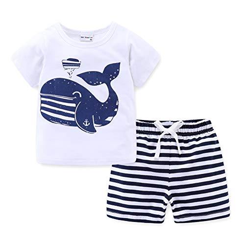 Mud Kingdom Baby Boys Shorts Set Cute Whale with Anchor White 12 Months (Smocked Whale)