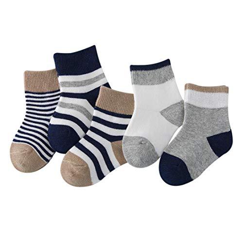 DEBAIJIA Niños Niñas Calcetines de Algodón Cómodo Deportivo Jogging Suave Elasticity Absorber el Sudor primavera verano otoño Color Azul marino 1-3 años (Pack de 5 Pares)