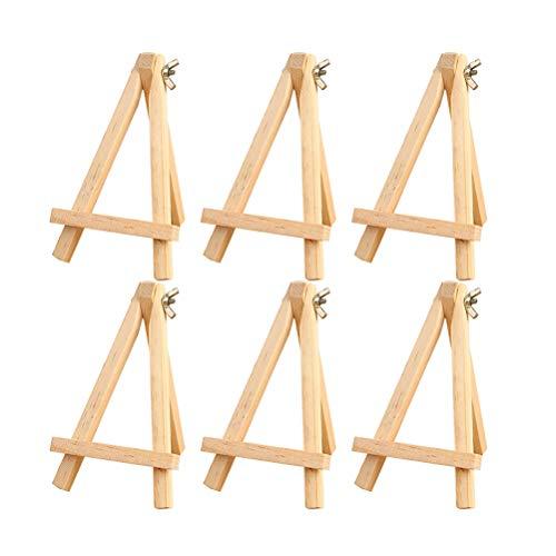 STOBOK Kleines Dreieck Rahmen Holz PortableTripod Stehen Staffelei Tabletop Tischkalender Display Ständer Bilderrahmen Halterung (6 stücke / 9x15 cm)