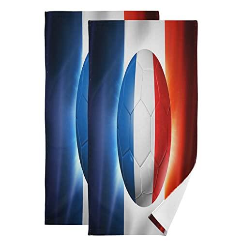 ALARGE Handtücher Sport Fußball Frankreich Flagge extra saugfähig weich Gästehandtuch Waschlappen 2er Set dünnes Badhandtuch für Yoga Sport Bad Küche Heimdekoration