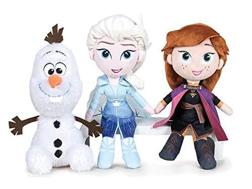 FS Frozen - Peluche Frozen 2 Principesse e Olaf. qualità Super Soft (20CM, Confezione da 3 Modelli)