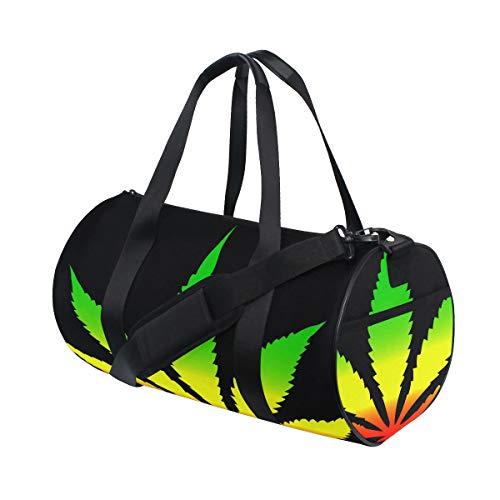 Cool Green Cannabis Leaf Icon Benutzerdefinierte Multi Leichte Große Yoga Gym Totes Handtasche Reise Canvas Duffel Taschen Mit Schulter Crossbody Fitness Sport Gepäck Für Jungen Mädchen Mens Womens