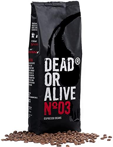 DEAD OR ALIVE Espresso No3 Kaffeebohnen - Extra starke koffeinreiche, langsam geröstete italienische Mischung - 100% Robusta, feinste Crema - Barista, dunkle und vegane Röstung - 1kg Gastro Beutel