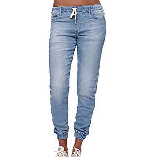 Morbuy Jean Femme Taille Haute Grande Taille, Stretch Skinny Slim Sexy Déchiré Troué Crayon Pantalons Droit Bootcut Push Up Boyfriend Denim Pants Casual Rétro (2XL, Bleu Clair)