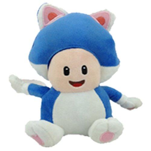 Yijinbo Cat Toad Super Mario Bros - Muñeca de Peluche (17,8 cm), Color Azul