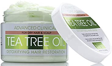 Advanced Clinicals Tea Tree Oil Hair Mask for Dry Scalp Detoxifying Treatment Conditioner to Strengthen Broken, Color-Treated Hair Fortifying Repair Mask with Coconut Oil, Quinoa 12 oz.