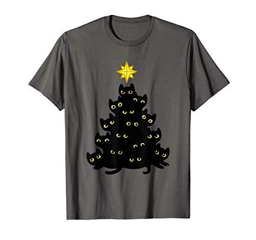 Árbol de la decoración de los gatos negros de la Navidad Camiseta