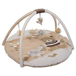 Bieco Krabbeldecke mit Spielbogen für Babys, Bubu Bär | ? ca. 90 cm | süße Mobile Spieldecke Baby | Activity Center Baby Gym | Spielmatte Baby | Spielteppich Mädchen & Junge | Erlebnisdecke