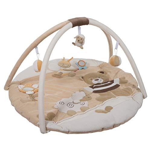 Bieco Krabbeldecke mit Spielbogen für Babys, Bubu Bär | ∅ ca. 90 cm | süße Mobile Spieldecke Baby | Activity Center Baby Gym | Spielmatte Baby | Spielteppich Mädchen & Junge | Erlebnisdecke