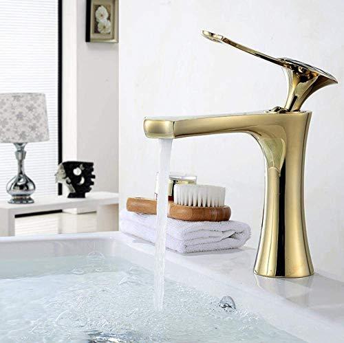 ZANYUYU Caliente y fría del grifo del lavabo del mezclador del lavabo-cobre del lavabo del oro del grifo caliente y frío