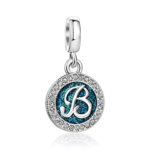 KunBead Sister Initial B Letter Birthday Charms Crystal Alphabet Dangle Beads for Charm Bracelets